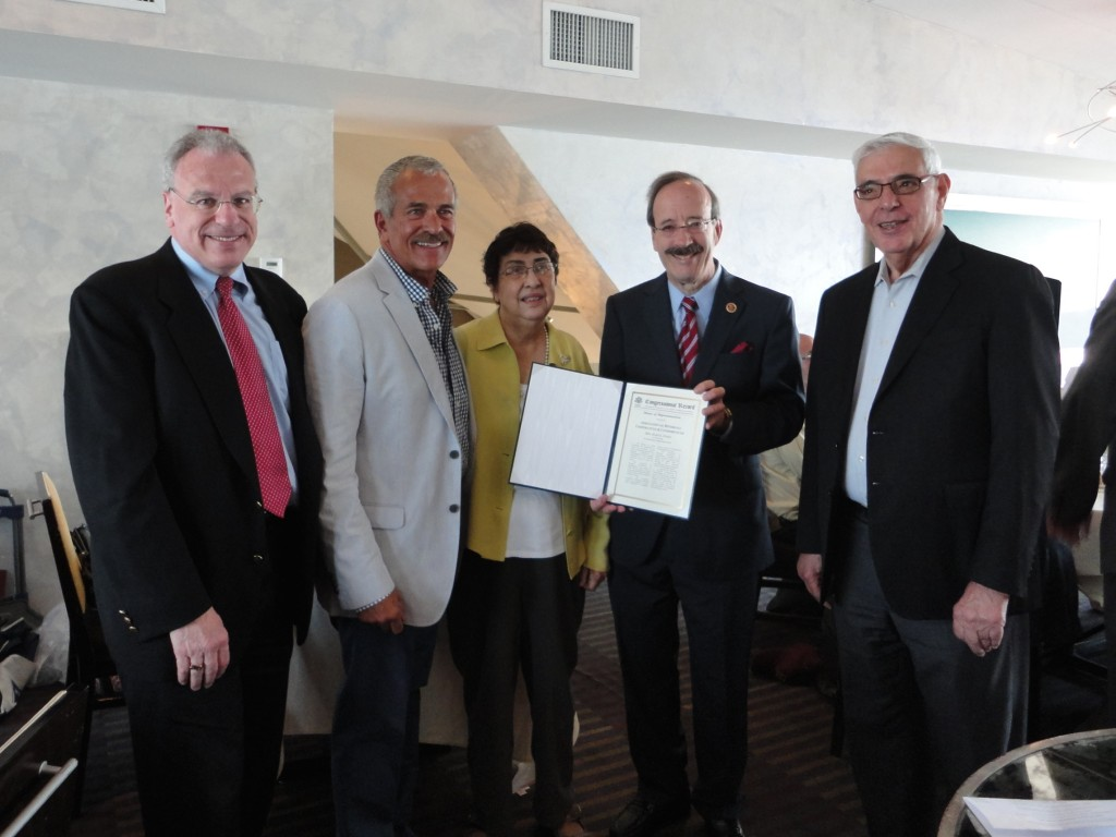 Assemblyman Jeffrey Dinowitz, ARC President Stephen Budihas, Doris Lyons and Ted Procas joined Congressman Engel in accepting a copy of the Congressional Record recognizing ARC's 30th Anniversary
